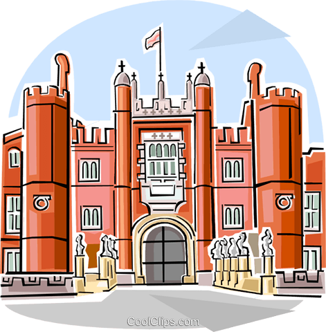 Hampton Court Palace Royalty Free Vector Clip Art illustration vc111827