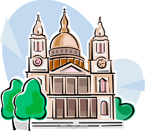 St Paul's Cathedral Royalty Free Vector Clip Art illustration vc111828