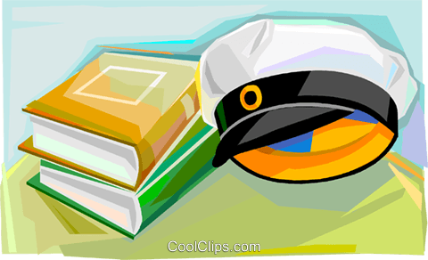 Swedish graduation cap with books Royalty Free Vector Clip Art illustration vc111843