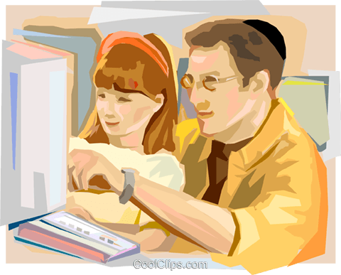 Jewish Shool Student with Teacher Royalty Free Vector Clip Art illustration vc111844