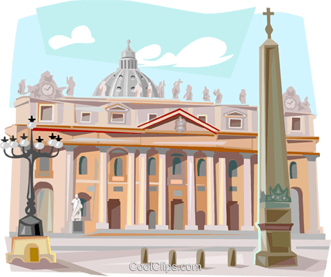 The Vatican Rome St. Peter's Cathedral Royalty Free Vector Clip Art illustration vc111846