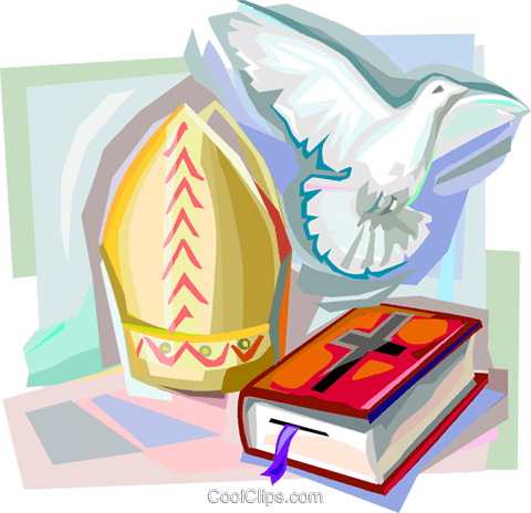 Bible, Dove and Papal Mitre Royalty Free Vector Clip Art illustration vc111847