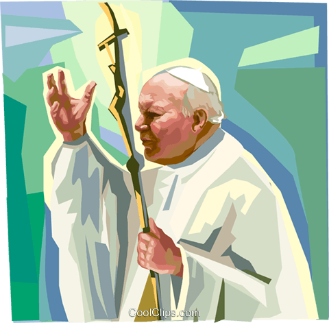 Pope John Paul II Royalty Free Vector Clip Art illustration vc111850