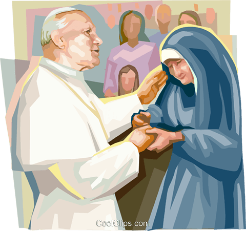 Pope John Paul II with nun Royalty Free Vector Clip Art illustration vc111853