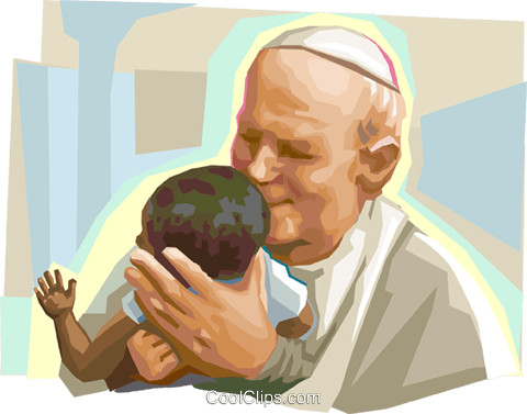 Pope John Paul II with child Royalty Free Vector Clip Art illustration vc111854
