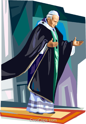 Pope John Paul II Royalty Free Vector Clip Art illustration vc111855