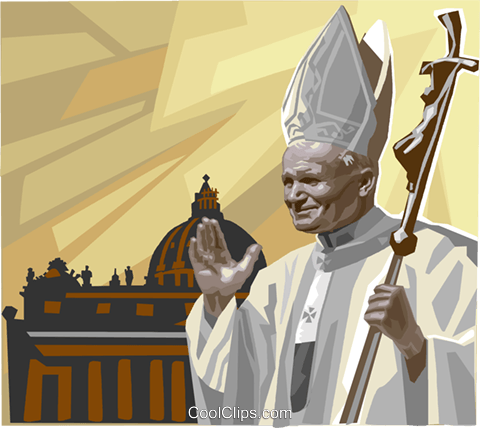 Pope John Paul II blessing with cross Royalty Free Vector Clip Art illustration vc111857