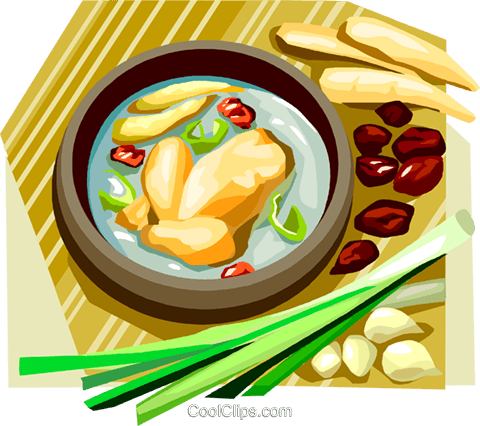Korean Food ginseng chicken in broth Royalty Free Vector Clip Art illustration vc111915
