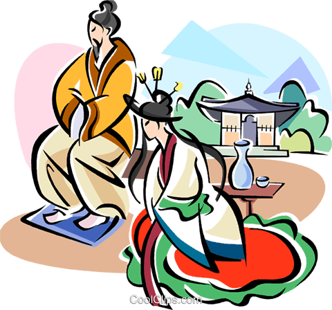 Traditional Korean clothing Royalty Free Vector Clip Art illustration vc111918