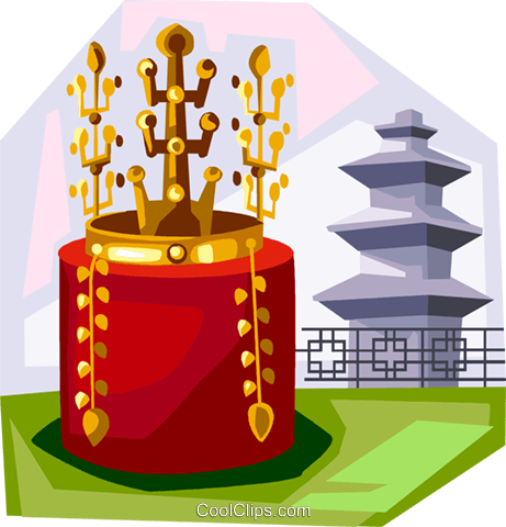 Korean Gold Crown from Silla period Royalty Free Vector Clip Art illustration vc111920