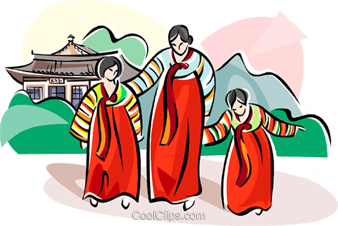Traditional Korean Clothing Royalty Free Vector Clip Art