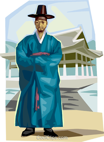 Traditional Korean clothing Royalty Free Vector Clip Art illustration vc111926