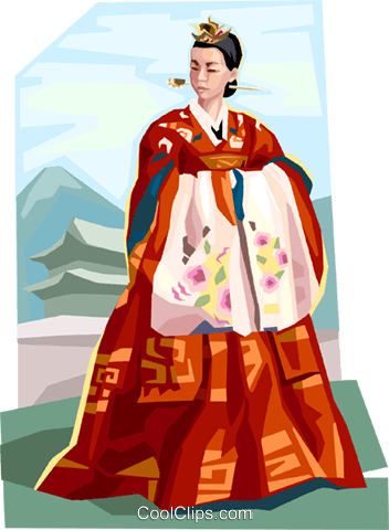 Traditional Korean clothing Royalty Free Vector Clip Art illustration vc111927