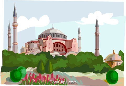 Aia Sofia mosque Istanbul Turkey Royalty Free Vector Clip Art illustration vc111933