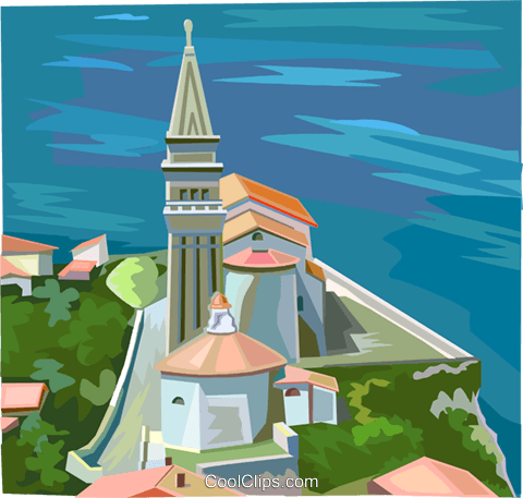 Slovenian seaside village Royalty Free Vector Clip Art illustration vc111934