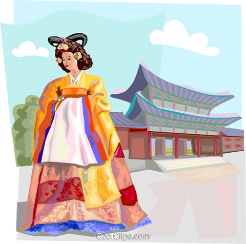 Traditional Korean clothing Royalty Free Vector Clip Art illustration vc111939