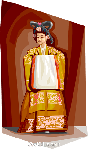 Traditional Korean clothing Royalty Free Vector Clip Art illustration vc111940