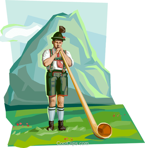 Bavarian boy in traditional costume Royalty Free Vector Clip Art illustration vc111946