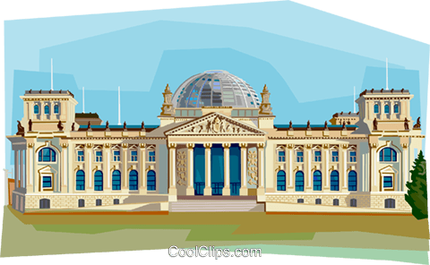 Germany Berlin Reichstag Royalty Free Vector Clip Art illustration vc111950