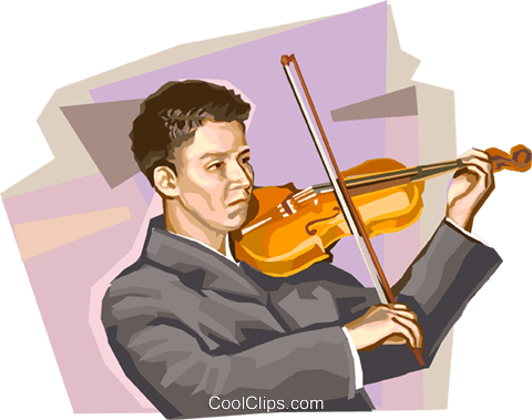 Violinists Royalty Free Vector Clip Art illustration vc111956