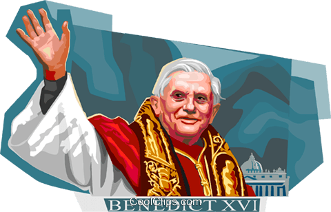 Pope Benedict XVI Royalty Free Vector Clip Art illustration vc111968