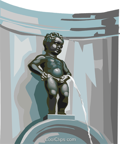 Manneken Pis Brussels Belgium Royalty Free Vector Clip Art illustration vc111971
