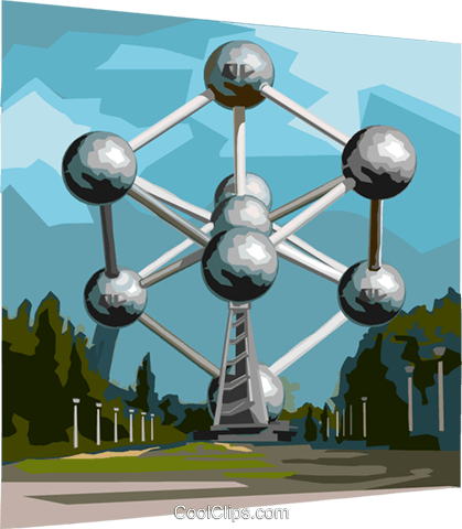 Brussels Heysel Park Atomium Royalty Free Vector Clip Art illustration vc111972