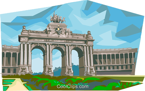 Brussels Cinquantenaire Arch Royalty Free Vector Clip Art illustration vc111973