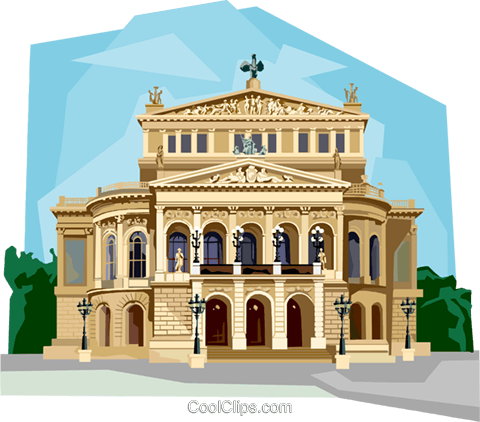 Germany Frankfurt Opera House Royalty Free Vector Clip Art illustration vc111976