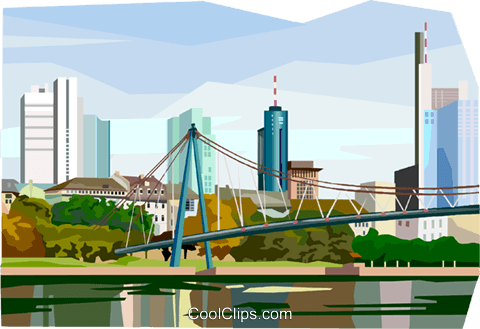 Frankfurt Skyline Royalty Free Vector Clip Art illustration vc111977
