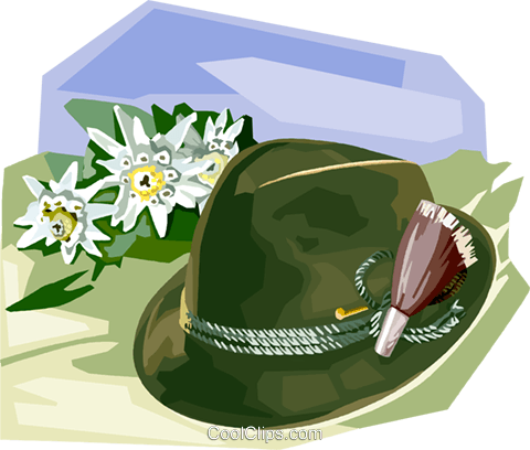 Tyrolean Hat with Edelweiss flowers Royalty Free Vector Clip Art illustration vc111979
