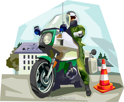 German Motorcycle Police Patrol Royalty Free Vector Clip Art illustration vc111980