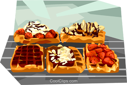 Belgium Waffles Royalty Free Vector Clip Art illustration vc111984