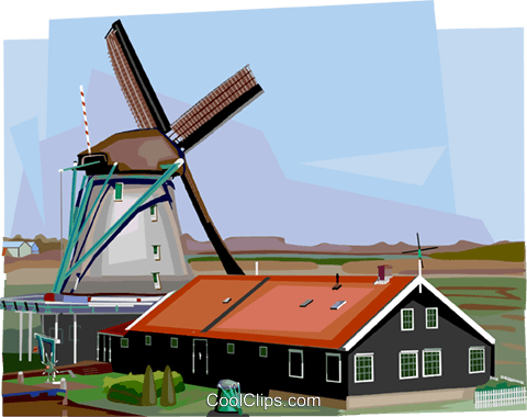 Dutch Windmill Royalty Free Vector Clip Art illustration vc111985