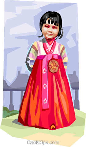 Traditional Korean clothing Royalty Free Vector Clip Art illustration vc111988