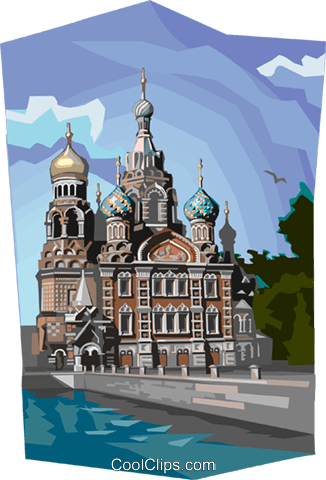 Russia Cathedral of Our Savior Royalty Free Vector Clip Art illustration vc111989