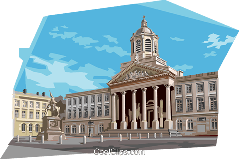 Place Royale Brussels, Belgium Royalty Free Vector Clip Art illustration vc111992