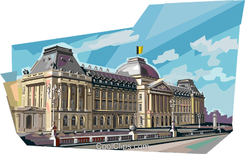 Royal Palace Brussels, Belgium Royalty Free Vector Clip Art illustration vc111993