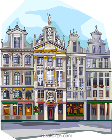 Grand Place, Brussels, Belgium Royalty Free Vector Clip Art illustration vc111995