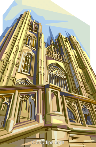 Brussels St Michael's Cathedral, Belgium Royalty Free Vector Clip Art illustration vc111998