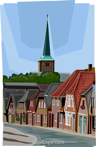 German town with church steeple Royalty Free Vector Clip Art illustration vc112000