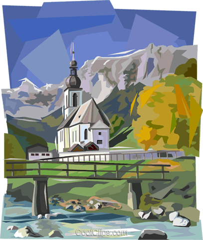 Bavarian country scene with church Royalty Free Vector Clip Art illustration vc112001