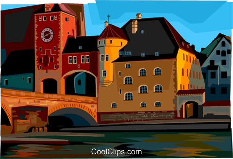 Regensburg, Germany Royalty Free Vector Clip Art illustration vc112002