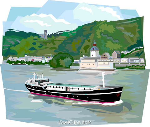 German river boat in the Rhine River Royalty Free Vector Clip Art illustration vc112004