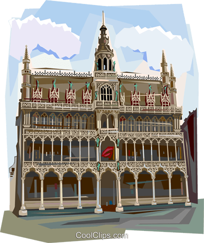 The Hotel de Ville, Belgium Royalty Free Vector Clip Art illustration vc112005