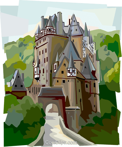 Burg Eltz Castle, Germany Royalty Free Vector Clip Art illustration vc112007