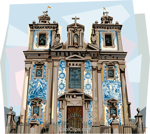 Sao Ildefonso Church, Porto, Portugal Royalty Free Vector Clip Art illustration vc112008