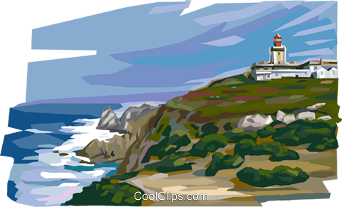 Portugal Cabo da Roca sea coast Royalty Free Vector Clip Art illustration vc112011