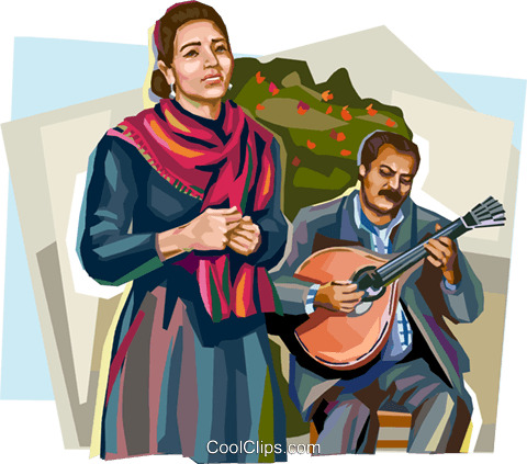Portugal fado singers Royalty Free Vector Clip Art illustration vc112014