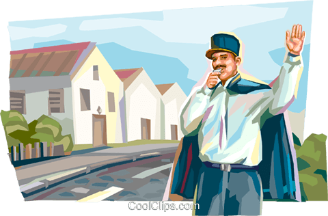 French policeman directing traffic Royalty Free Vector Clip Art illustration vc112016